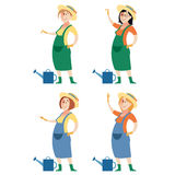 Set of gardener women Royalty Free Stock Photography