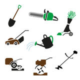 Set Gardening icon. Set of icons of garden tools and equipment. Gardening icon. on white background stock illustration