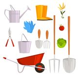 Set of gardening stuff. Isolated on white background. Vector illustration. Flat styl Royalty Free Stock Photography