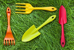 Set of gardening tools on grass Royalty Free Stock Photography