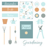 Set of Gardening Tools and Instruments with Planner Elements. Vector set of gardening tools and instruments with vintage creative cards, stickers and labels for Royalty Free Stock Image