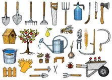 Set of gardening tools or items. hose reel, fork, spade, rake, hoe, trug, cart, lawnmower, elements collection. work. Equipment. shovel fence tree saw watering Stock Images