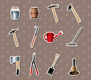 Set of Gardening tools stickers Stock Image