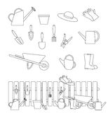 Set of gardening tools symbols and a composition with a fence Royalty Free Stock Photos