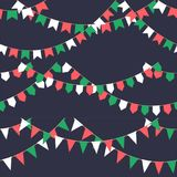 Set of garland with celebration flags chain, green, white, red pennons on dark background, footer and banner for. Celebration, eps 10 Stock Photo