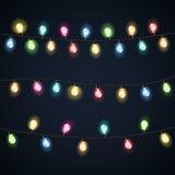 Set of garland. Christmas lights bulbs. Vectors illustration Royalty Free Stock Photography