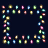 Set of garland. Frame of garland Christmas lights bulbs. Vectors illustration Royalty Free Stock Image
