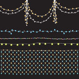 Set garlands with brilliant, bright patches of light, shining lamp Royalty Free Stock Photography