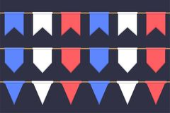 Set of garlands with celebration flags chain, white, blue, red pennons on dark background, footer and banner for decoration. Set of garlands with celebration Stock Images