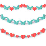 Set garlands of colored hearts and butterflies. Royalty Free Stock Photography