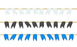 Set, garlands 3d glossy little flags or pennants by a rope, hanging for holiday, realistic plastic toy for children. Design shiny royalty free illustration