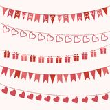 Set of garlands for Valentine's Day or wedding. Set of festive garlands for Valentine's Day or wedding design Royalty Free Stock Image