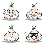 Set of garlic cartoon character collection. Vector illustration Stock Photography