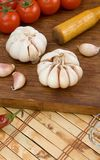 Set of garlic nutrition and healthy food on wood Royalty Free Stock Image