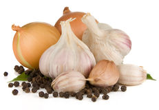 Set of garlic, onion and pepper Stock Photography