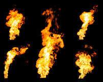 Set of gas flares blazing fire spurts and glowing flames Royalty Free Stock Image