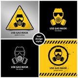 Set of gas mask symbols. Containing four unique design elements in different variations: gradient, flat, line and grunge style, eps10  illustration Stock Images