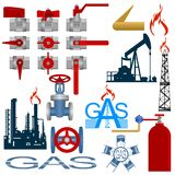 Set the gas production industry. Set icons gas production and gas processing industries. Illustration on white background Stock Photo