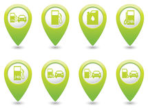 Set of Gas station icons on green map pointers Stock Photography