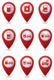 Set of Gas station icons on green map pointers Royalty Free Stock Photography