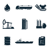 Set of  gasoline filling station with fuel tankers and a barrel. Oil icons, vector icons isolate on a white background, a set of  gasoline filling station with Royalty Free Stock Images
