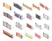 Set of Gates and Fences In Isometric Projection Stock Images