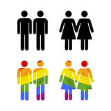 Set of gay couples icons on white Stock Image
