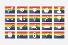 Set of gay pride flags with  miscellaneous mixed icons Stock Photo