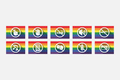 Set of gay pride flags with  prohibition related icons Royalty Free Stock Photos