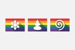 Set of gay pride flags with  Zen and relaxation related icons Royalty Free Stock Image