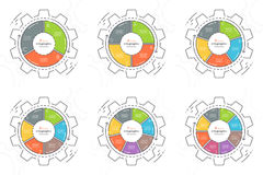 Set of gear shaped flat style infographic templates 3-8 steps. Royalty Free Stock Photography