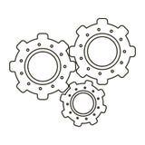 Set gear wheel engine teamwork outline Stock Image