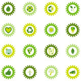 Set of gear wheel icons from bio eco and environmental symbols Stock Photos