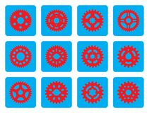 Set of gear wheel icons on cyan background Royalty Free Stock Image