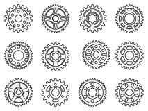 Set of gear wheel icons. Vector thin line Royalty Free Stock Photography