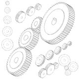 Set of gear wheels in black and white. By changing size, gears can be combined into mechanism. isometric style Royalty Free Stock Photo