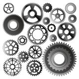 Set of gear wheels vector. On white Royalty Free Stock Images