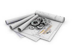 A set of gears and bearings lying. On posters with blueprints.3d illustration Stock Images