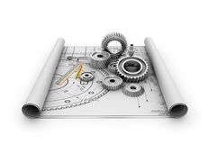 A set of gears and bearings lying on posters. With blueprints.3d illustration Stock Photo