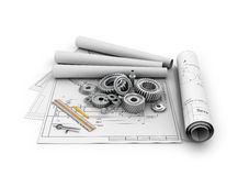 A set of gears and bearings lying on posters. With blueprints.3d illustration Royalty Free Stock Image