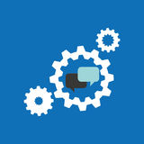 Set gears with bubble speak chat icon design Royalty Free Stock Photography