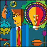 Set of gears and bulb and businessman Stock Photos