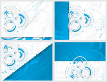 Set of gears and circuit board with arrows on abstract background Royalty Free Stock Image