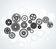 Set of gears, different sizes and shapes, black on the gradient Stock Images