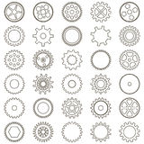 Set of gears in the form of of simple icons linear. On white background Stock Image