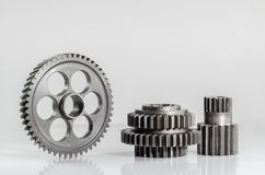 Set of gears on isolated. Background Stock Images