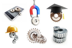 Set of gears, a magnet on the chain, gears smartphone Stock Photography