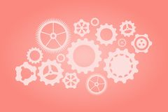 Set of gears. Gears on a pink coral colors background. Vector illustration. Working gear. Machinery gear. Pin gear. Progresiruet royalty free illustration