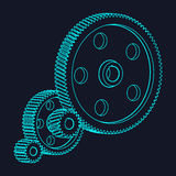 Set of gears wheels of the same module. Royalty Free Stock Images