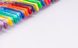 Set of gel pens of various colors. With lilac background usefull like copy space royalty free stock photo